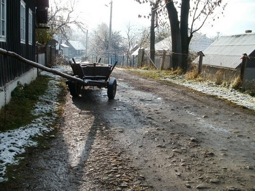 Jasinia, Ukraine. Morning in street, named of honour of red Army