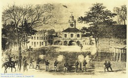 Artist rendition of Market House where Confederate Troops killed and captured Union Soldiers on March 11, 1865 at Fayetteville, NC.