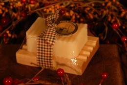 Handcrafted soap on a handmade soap tray