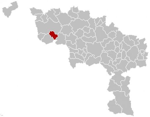 Map location of Antoing, in Hainaut province, Belgium