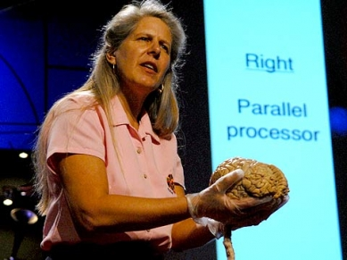 Right brain left brain.  We're not contained in them but operate THROUGH them.