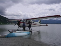 The float plane delivers us on the glacial lakeshore