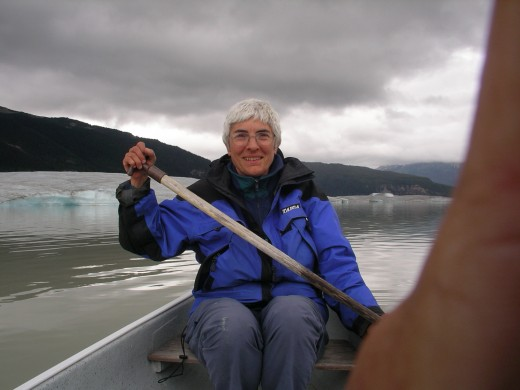 Paddling on the lake where the ice was a few years ago