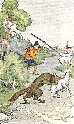 "Scene from the Aesop's fable about the boy who cried ""wolf."""