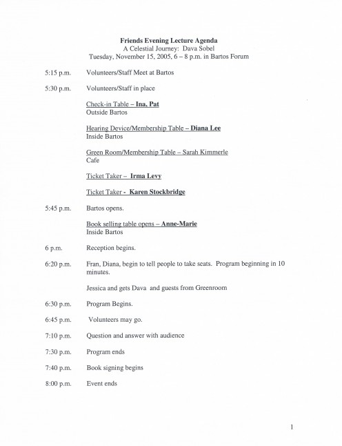 Sobel is the daughter of renowned journalist Ruth Gruber. Shown is the lineup for the Dava Sobel appearance.