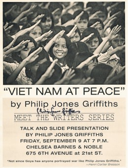 Now deceased, Philip Jones Griffiths is a renowned Vietnam photographer. I met him at his provocative talk and slide show about his books, Agent Orange: Collateral Damage in Vietnam and Viet Nam At Peace, two of his volumes in his epoch trilogy.