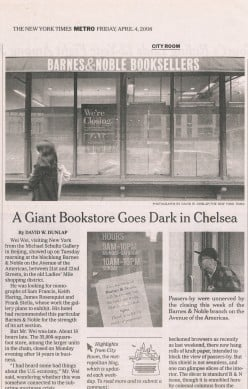 Griffiths presentation took place at the former location of the Chelsea Barnes & Noble. This article announces the closing of it two and a half years later. I also shopped their on occasion.