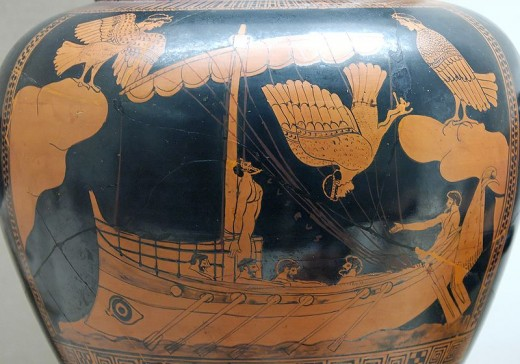 Odysseus on a vase from the 5th century.