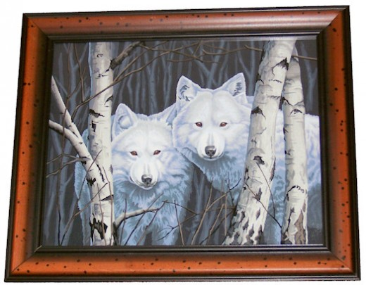 Pair of White Wolves Paint by Number