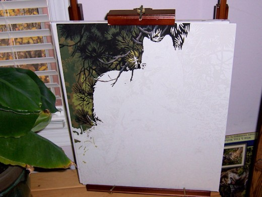 Wolf Paint by Number partially finished.  This is on the briefcase easel which opens up into a full sized easel.