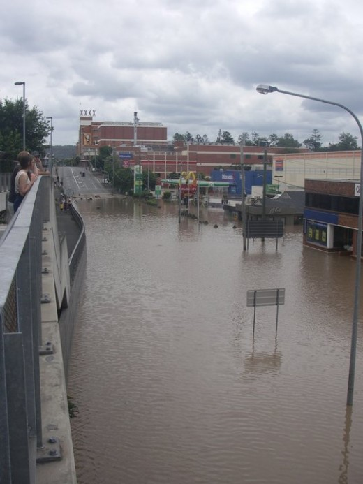 Muilton after the flooding  XXXX Brewery on the Hill
