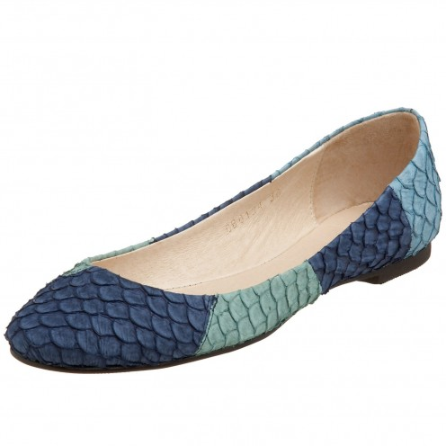 Add interest to an outfit with blue flats that have pattern or texture