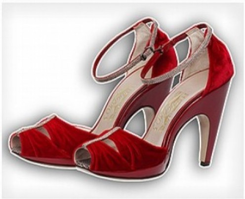 "Stunning Salvatore Ferrango red shoes, inspired by the 1930s and worn to effect by Nicole Kidman in Baz Lurhman's ""Australia""....however not ideal for super tall women."