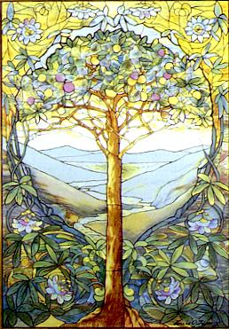 The tree of life, stained glass by Louis Comfort Tiffany (1848-1933).