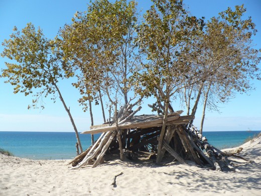 A lean-to atop the dunes along Lake Michigan, Ludington State Park.