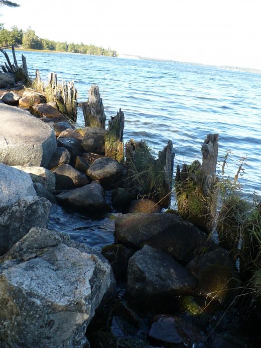 Rip rap along Hamlin Lake, Ludington State Park