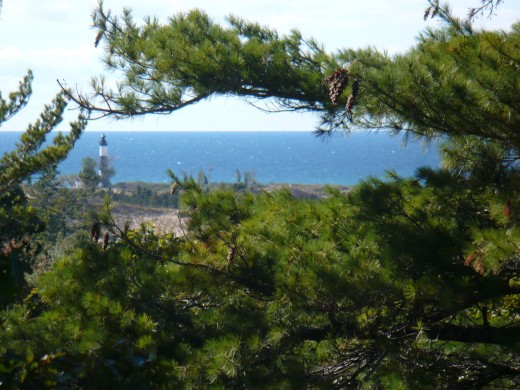 Big Sauble Point Lighthouse from the top of Ridge Trail, Ludington State Park