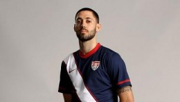 Clint Dempsey in the 2010 USA national team Away soccer jersey
