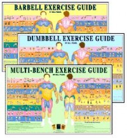 Dumbbell Exercise Charts Set Green Background and Colorful