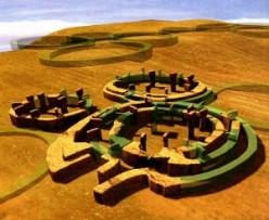 Artist's rendering of Gobekli Tepe