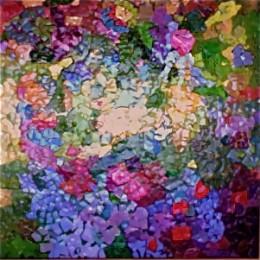 My eggshell mosaic of my memories of a Japanese Garden.