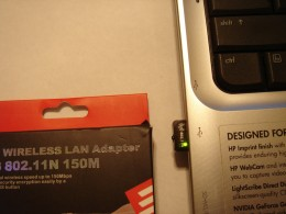 A mini wireless USB 802.11 N  150M can be used for higher speed when the built-in wireless is not working.