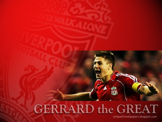 Steven Gerrard Spreading His Arms Wide In Celebration In This Wallpaper