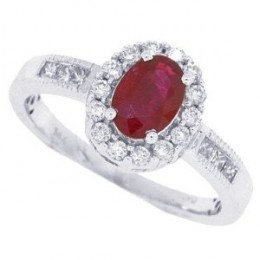 Ruby Princess Cut Channel Set Diamond Ring