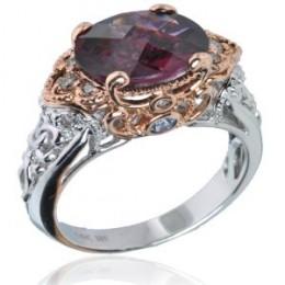 14K White / Rose Gold Rhodolite Garnet, Green Sapphire & Diamond Ring