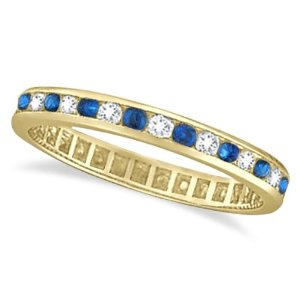 Blue Sapphire and Diamond Channel Set Eternity Band 14k Yellow Gold