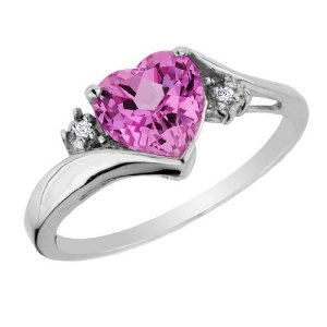 Pink Sapphire Heart Ring with Diamonds