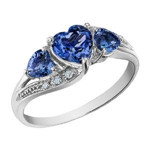 Sapphire Heart Ring with Diamonds