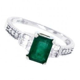 Genuine Emerald Cut Emerald and Diamond Ring