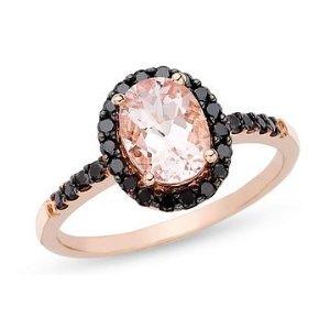 Morganite and Black Diamond 14K Pink Gold Ring