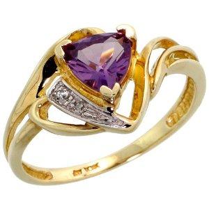 Gold Trillion Ring, w/ Brilliant Cut Diamonds & Trillant Cut February Birthstone 6mm Amethyst Stone