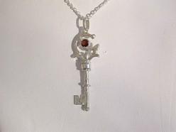 Sterling Silver Garnet Key