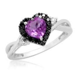 White Gold Heart Shaped Amethyst w/ Round Black & White Diamonds Ring