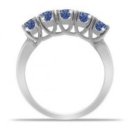 5 Stone Round Blue Sapphire Ring