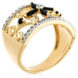Gold Plated Sterling Silver Sapphire with Diamond-Accent Flower Ring