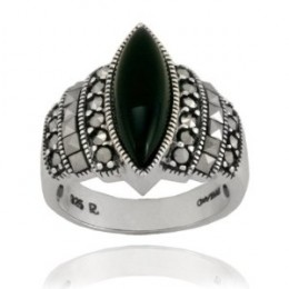 Sterling Silver Marcasite and Onyx Marquis Ring