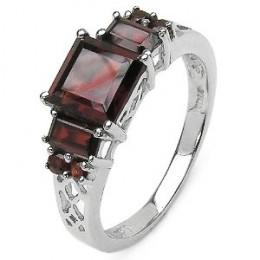 Genuine Garnet Silver Filigree Ring
