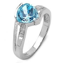 Genuine Blue Topaz & Diamond Silver Ring