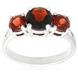 Sterling Silver 3-Stone Garnet Ring