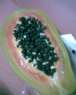 shop bought papaya fruit with seeds