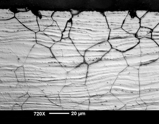 Microscopic view of a metal affected by Intergranular Corrosion