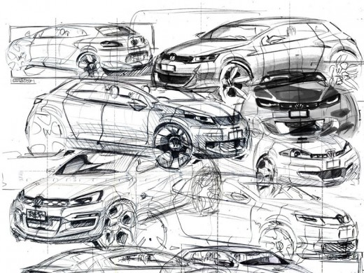 Car sketches by Akos Szas
