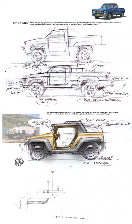 Automotive sketches by Brook Banham