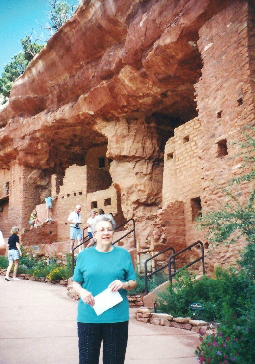 My mother in the foreground at the Manitou Cliff Dwellings