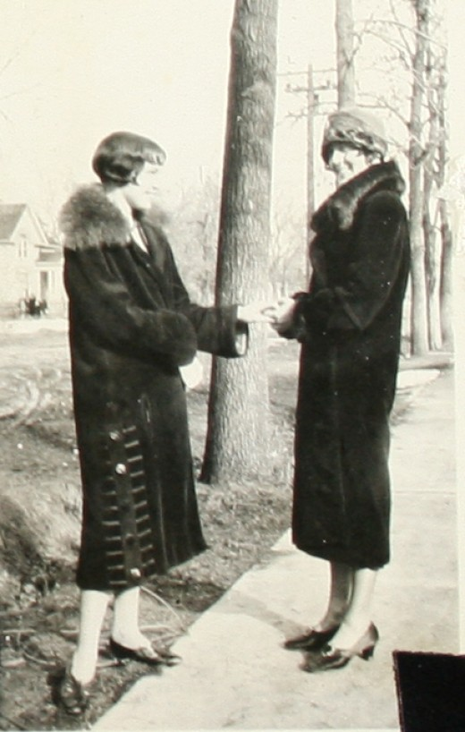 My stylish Grandmother Anderson and a friend in their fur coats around 1920.