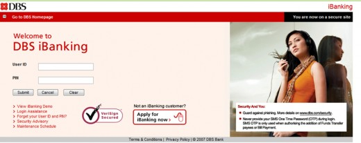 Internet Banking Login Screen